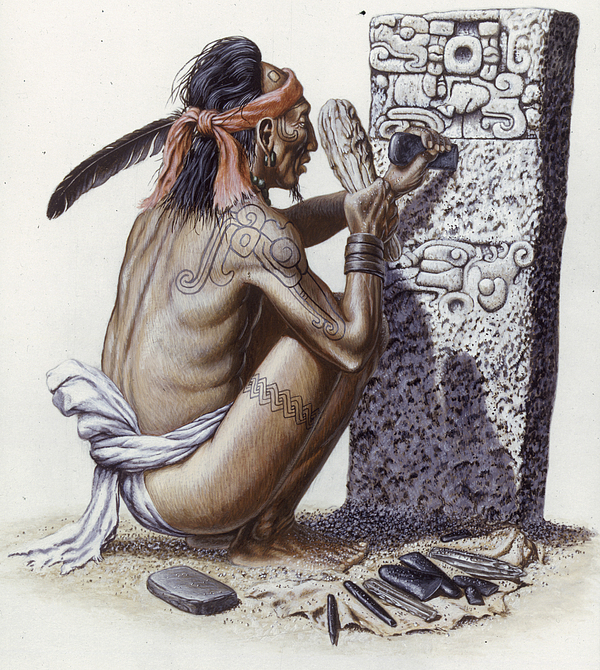 One Person Photograph - A Maya Artisan Readies A Limestone by Terry W. Rutledge