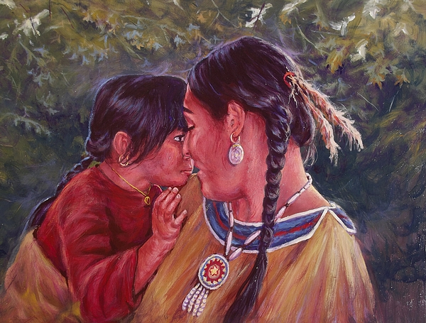 Child Painting - A Mothers Love by Ed Breeding