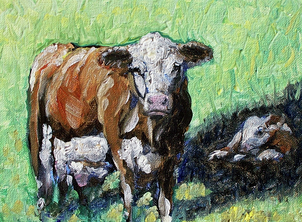 Cow Painting - A Mothers Love by Sheila Tajima