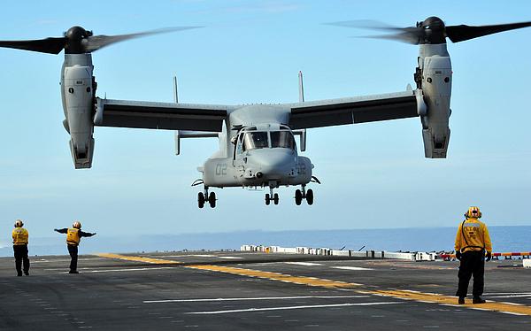 Us Air Force Photograph - A Mv-22 Osprey Aircraft Prepares by Stocktrek Images