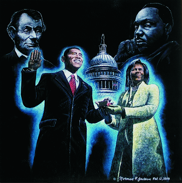 Obama Painting - A New Birth Of Freedom by Norman F Jackson
