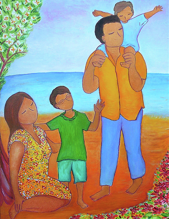 Parenthood Painting - A Nice Family Of Four by Gioia Albano