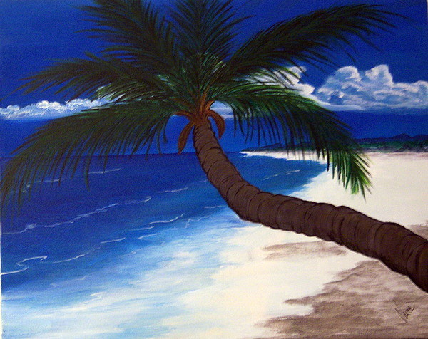 Palm Painting - A Palm On The Coast by Nancy Nuce