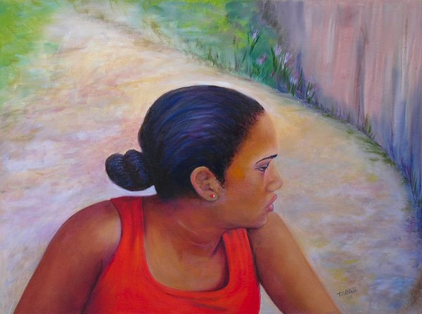 Portrait Painting - A Penny For Your Thoughts by Merle Blair