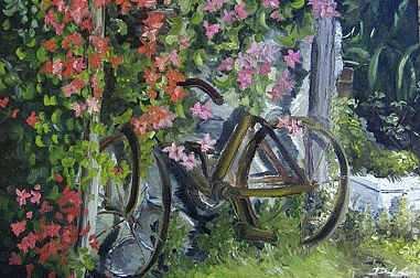 Bike Painting - A Perfect Morning by David LaGarde