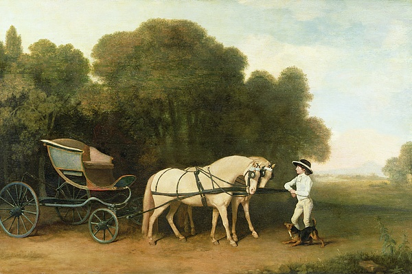 Xyc123100 Photograph - A Phaeton With A Pair Of Cream Ponies In The Charge Of A Stable-lad by George Stubbs
