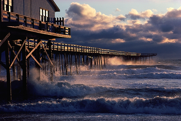 Outdoors Photograph - A Pier At Nags Head Is Pounded By Early by David Alan Harvey