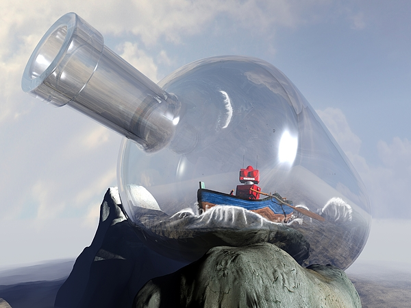 Science Fiction Digital Art - A Robot In A Bottle by Michael Knight