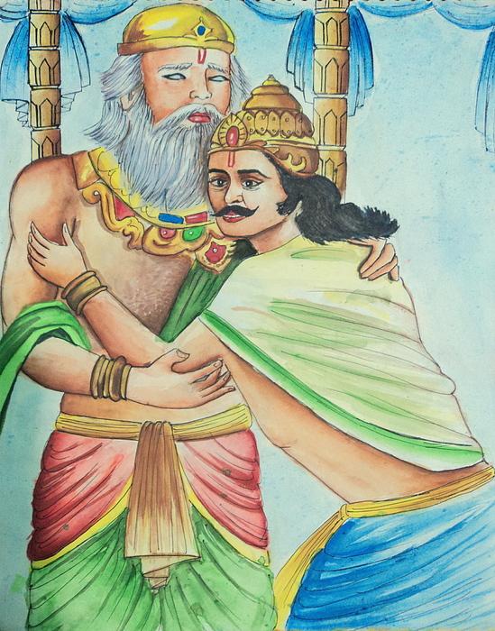 Mahabharata Painting - A Scene From Mahabharata by Tanmay Singh
