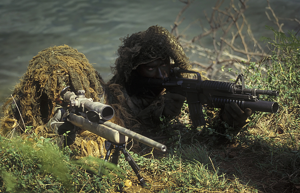 Military Photograph - A Seal Sniper Swim Pair Set Up An by Michael Wood