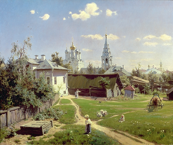 Small Painting - A Small Yard In Moscow by Vasilij Dmitrievich Polenov