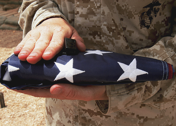 Adults Only Photograph - A Soldier Holds The United States Flag by Stocktrek Images