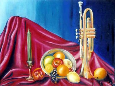 Trumpet Painting - A Sour Note by Amanda  Sanford