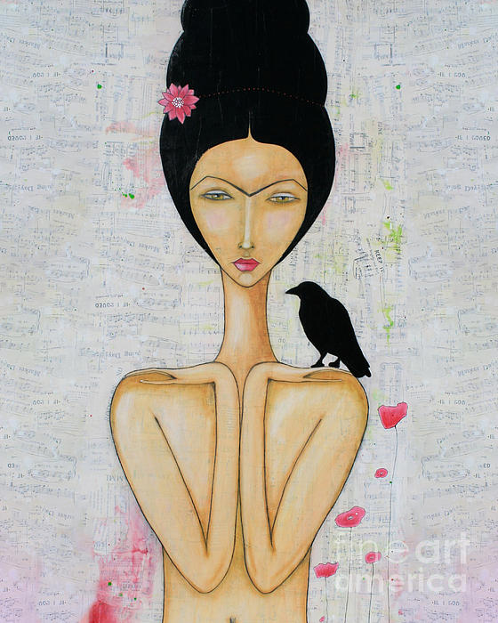 Crow Mixed Media - A Special Friend by Natalie Briney