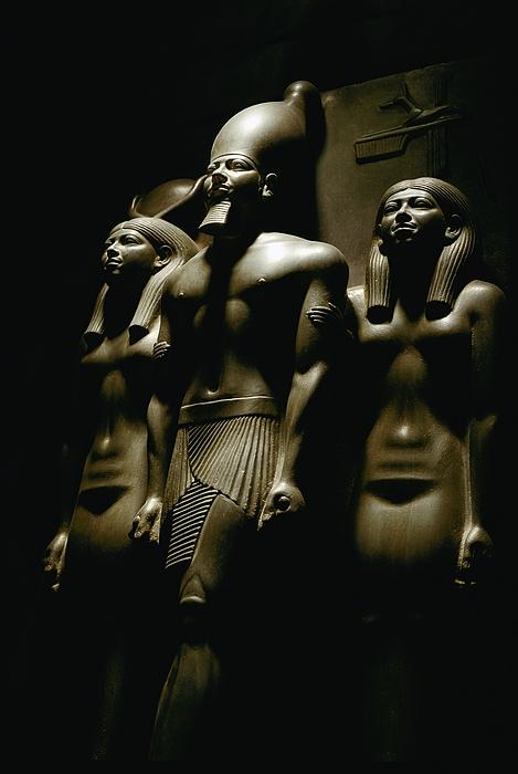 Dynasties Photograph - A Statue Of Pharoh Menkaura by Kenneth Garrett
