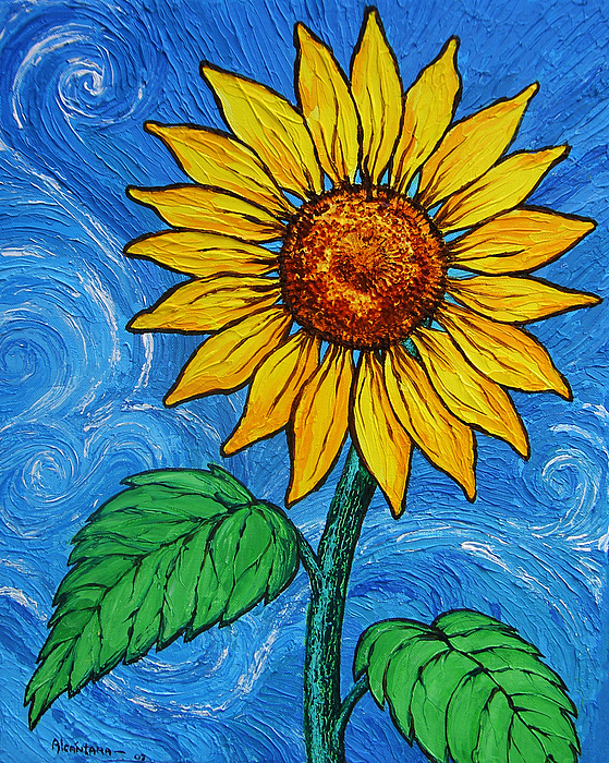 A sunflower painting by juan alcantara for How to paint sunflowers in acrylic