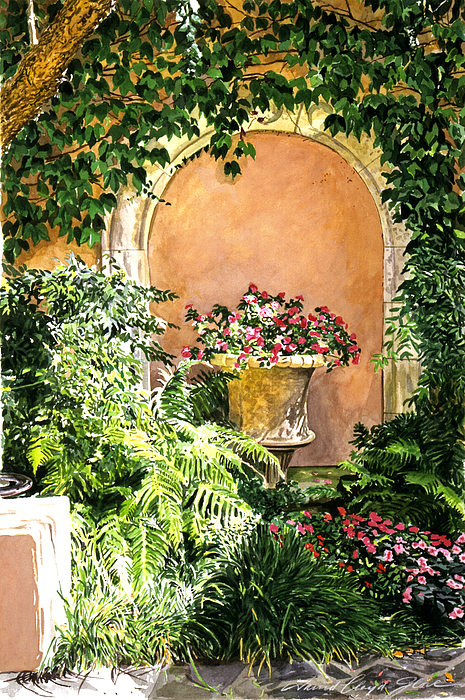 Flower Pots Painting - A Sunny Nook Hotel Bel - Air by David Lloyd Glover