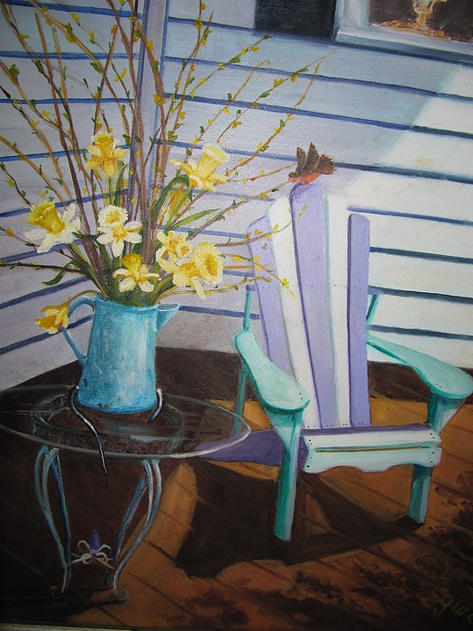 Porch Painting - A Surpise Visitor by Gloria Condon