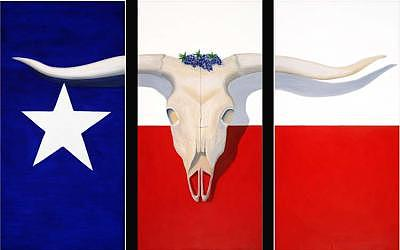 Longhorn Skull Painting - A Texas State Of Mind by Larry G Lemons