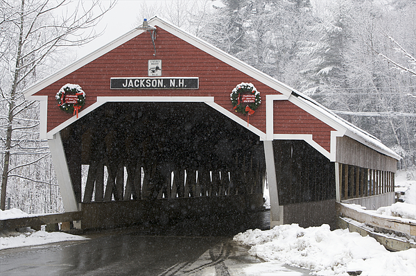 Day Photograph - A Traditional Covered Bridge On A Snowy by Tim Laman