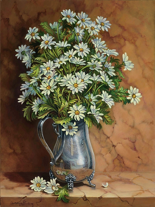 Daisies Painting - A Tribute To Lupetti by Carolyn Sterling