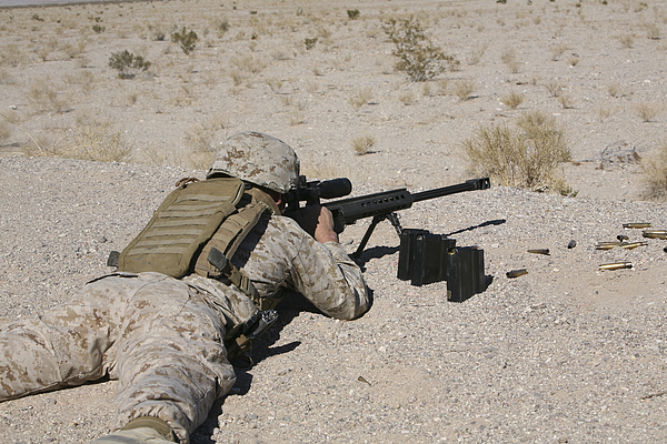 Us Marines Photograph - A U.s. Marine Zeros His M107 Sniper by Stocktrek Images