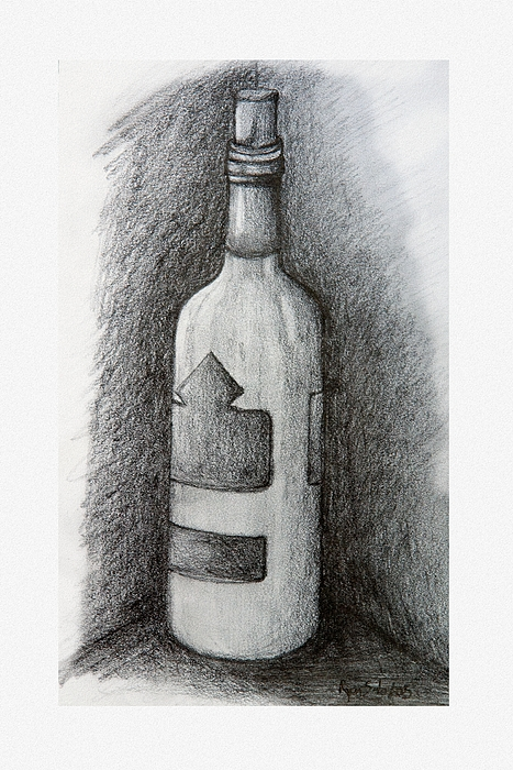 Bottle Drawing - A Very Good Year by Ryan Salo