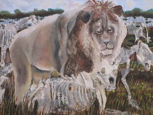 Lion Painting - A View From Nowhere by Olivia  Whitby