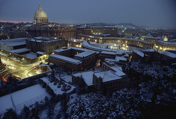 Vatican City Photograph - A View Of Vatican City In The Snow.  It by James L. Stanfield