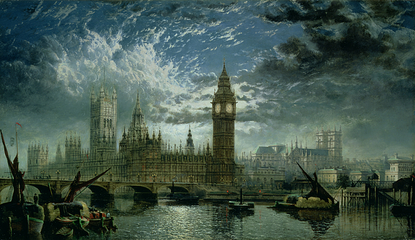 View Painting - A View Of Westminster Abbey And The Houses Of Parliament by John MacVicar Anderson