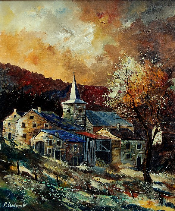 Tree Painting - A Village In Autumn by Pol Ledent