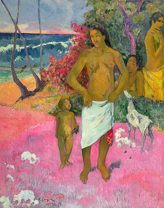 Paul Gauguin Painting - A Walk By The Sea by Paul Gauguin
