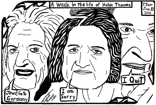 Helen Thomas Drawing - A Week In The Life Of Helen Thomas By Yonatan Frimer by Yonatan Frimer Maze Artist