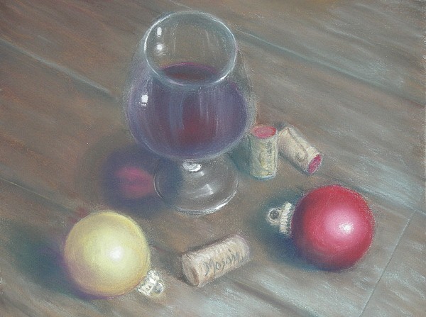 Wine Painting - A Wine Christmas by Ellen Minter
