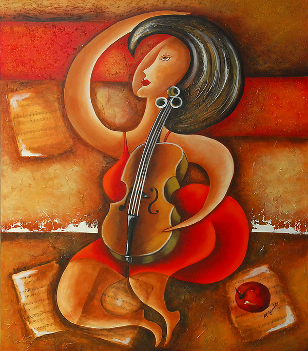 Abstract Expressionism Painting - A Woman And Her Violin by Marta Giraldo