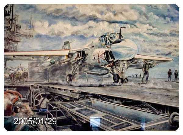 Airplane Drawing - A6 Uss Ranger by James Beal