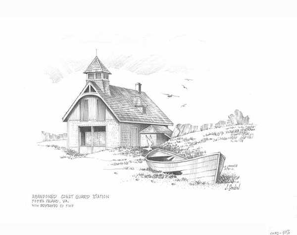 Abandoned Coast Guard Station Drawing by Mike  Goebel