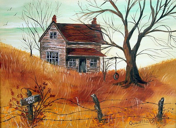 Landscape Painting - Abandoned Farmhouse by Quwatha Valentine