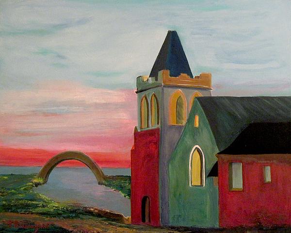 Abbey Painting - Abbey Near The Bridge by Richard Beauregard