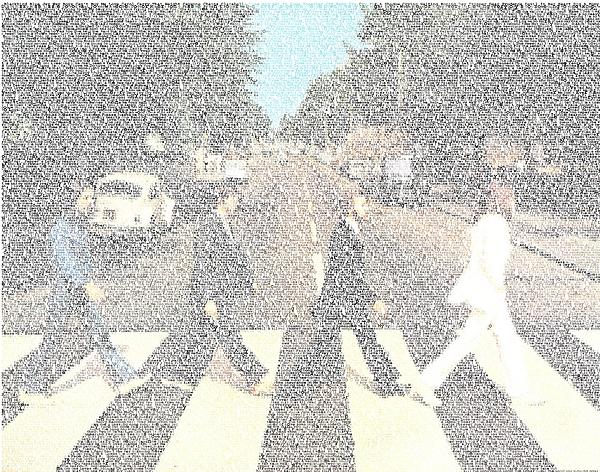 The Beatles Digital Art - Abbey Road Beatles Songs Mosaic by Paul Van Scott