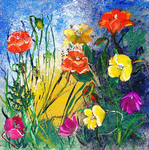 Acrylic Painting - Abendwiese       Evening Garden by Birgit Schlegel