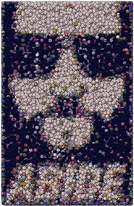 The Big Lebowski Mixed Media - Abide Bottle Cap Mosaic by Paul Van Scott