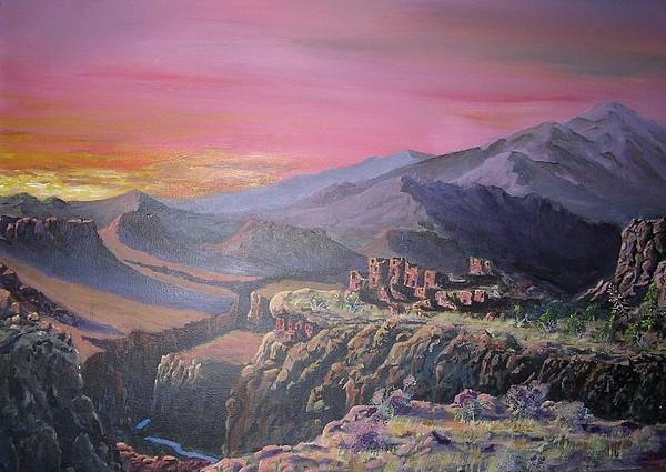 Sunset Painting - Aboriginal Hopi by John Wise