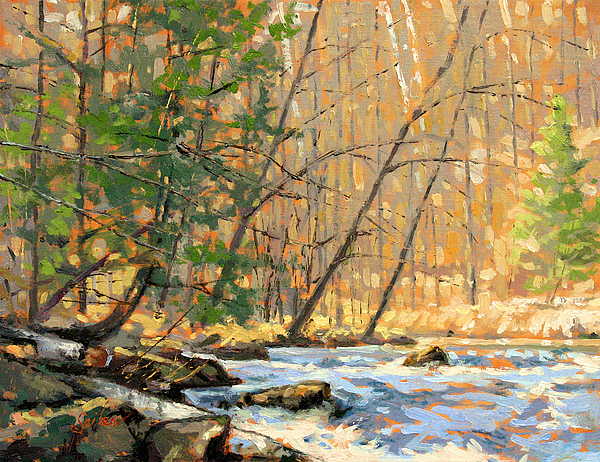 River Painting - Above The Falls by Larry Seiler