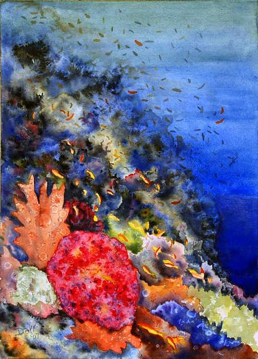 Watercolor Painting - Above The Reef by Darr Sandberg