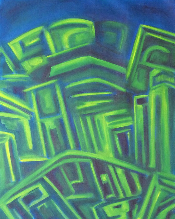 Minimalist Painting - Abstract Cityscape Series IIi by Patricia Cleasby