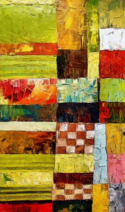 Patchwork Painting - Abstract Color Study With Checkerboard And Stripes by Michelle Calkins