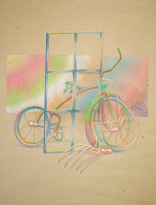 Abstract Color Tricycle Drawing by Karl Bayek