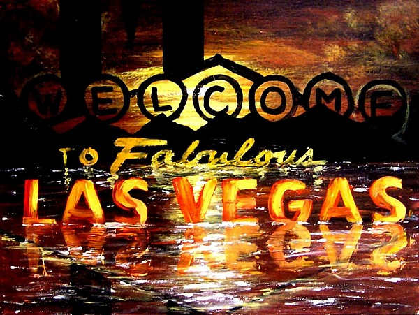 Las Vegas Painting - Abstract Fabulous Las Vegas Scenic Poker Art Casino Decor by Teo Alfonso