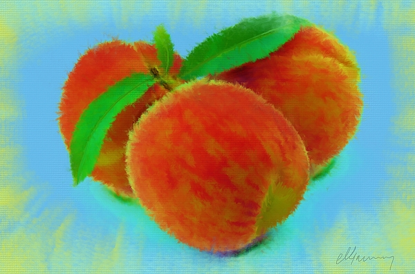 Peaches Painting - Abstract Fruit Painting by Michael Greenaway